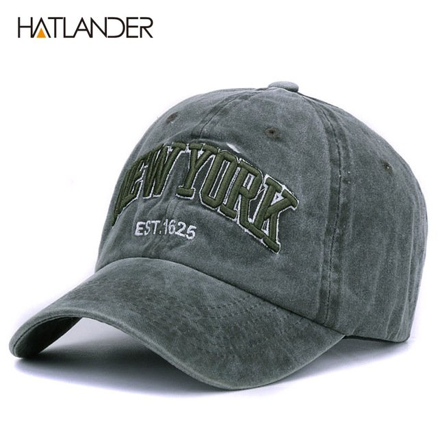 [HATLANDER]Sand washed 100% cotton baseball cap hat for women men vintage dad hat NEW YORK embroidery letter outdoor sports caps 14