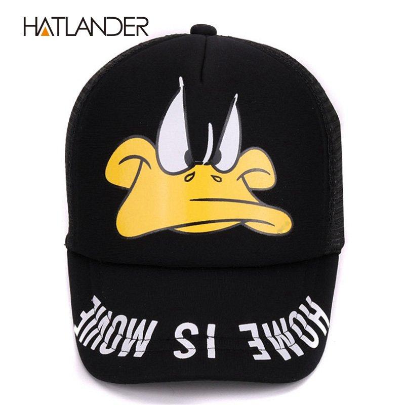 Hatlander cute children baseball caps baby girls sun visor hats boys snapback casquette gorras cartoon duck kids summer mesh cap 3