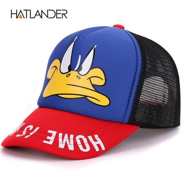 Hatlander cute children baseball caps baby girls sun visor hats boys snapback casquette gorras cartoon duck kids summer mesh cap 19