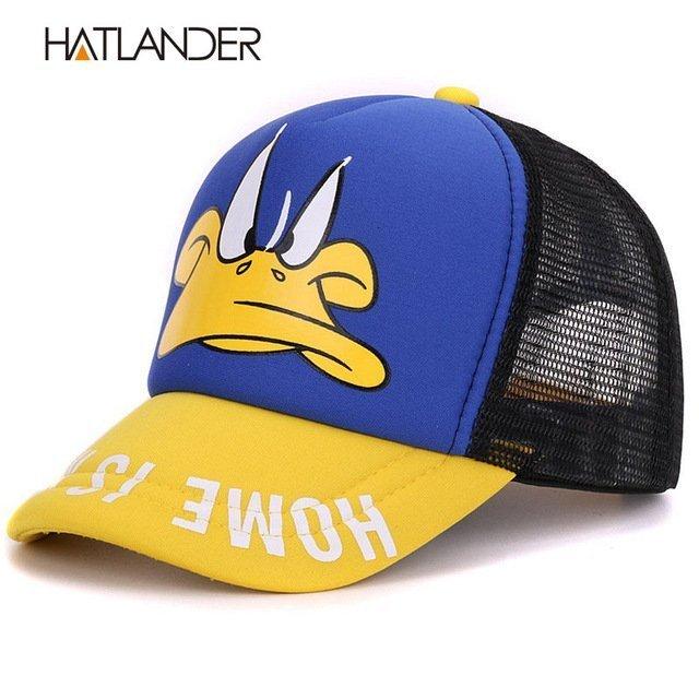 Hatlander cute children baseball caps baby girls sun visor hats boys snapback casquette gorras cartoon duck kids summer mesh cap 21