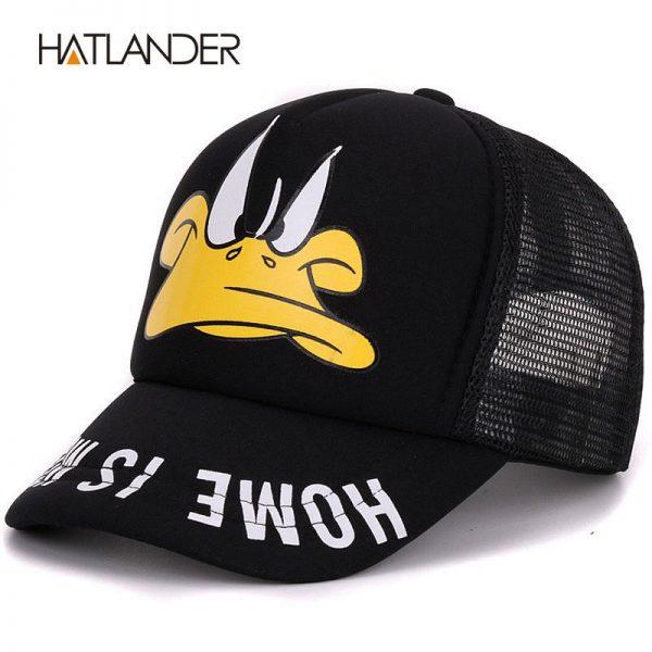 Hatlander cute children baseball caps baby girls sun visor hats boys snapback casquette gorras cartoon duck kids summer mesh cap 2