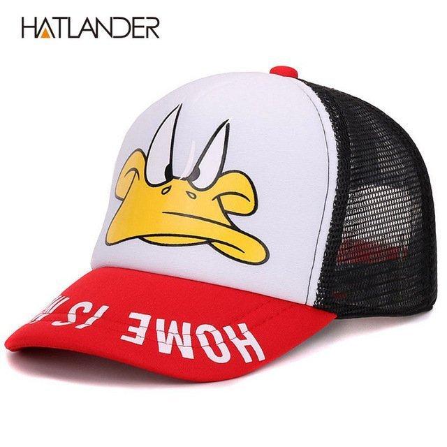 Hatlander cute children baseball caps baby girls sun visor hats boys snapback casquette gorras cartoon duck kids summer mesh cap 13