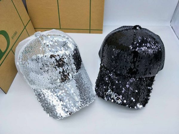 NEW Sequins Paillette Bling Shinning Mesh Baseball Cap Striking Pretty Adjustable Women Girls Hats For Party Club Gathering 2