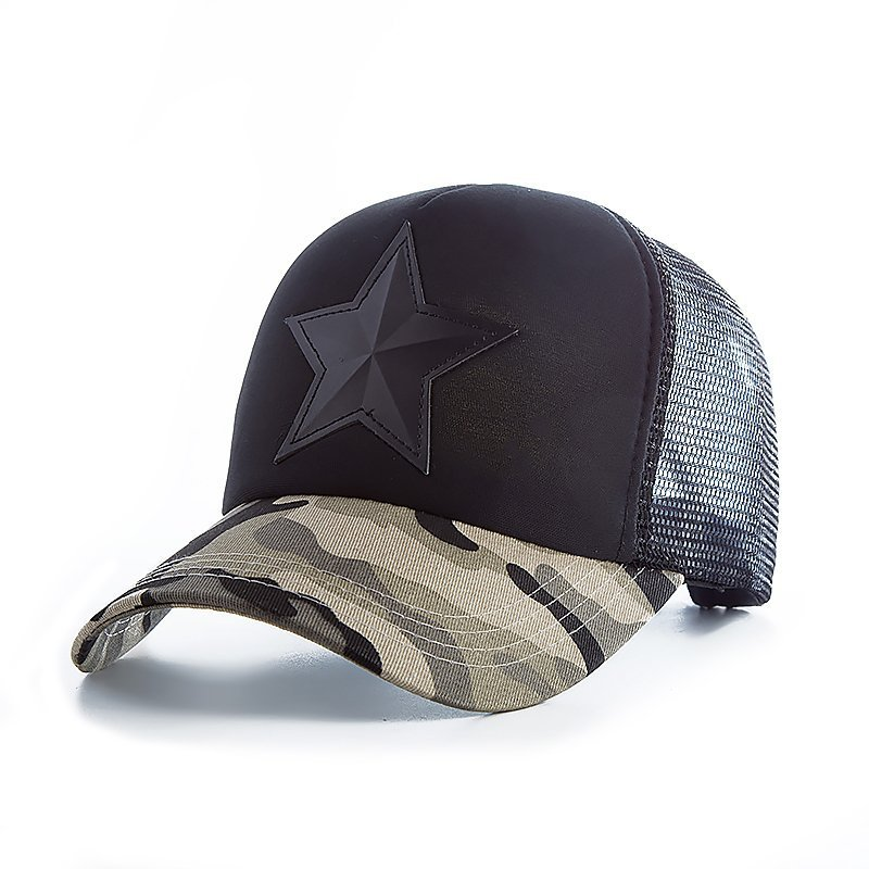 New 3D Five-pointed Star Embroidery Mesh Baseball Cap Fashion Summer Snapback Camouflage Hat Cap For Men & Women Leisure Cap 3