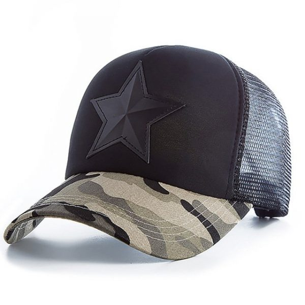 New 3D Five-pointed Star Embroidery Mesh Baseball Cap Fashion Summer Snapback Camouflage Hat Cap For Men & Women Leisure Cap 16