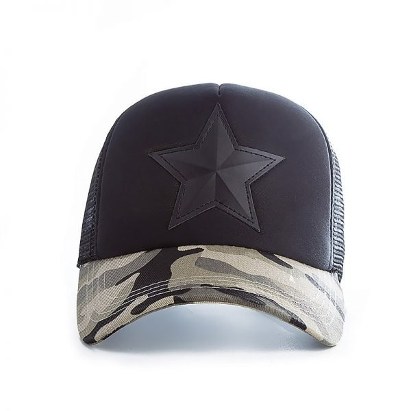 New 3D Five-pointed Star Embroidery Mesh Baseball Cap Fashion Summer Snapback Camouflage Hat Cap For Men & Women Leisure Cap 6
