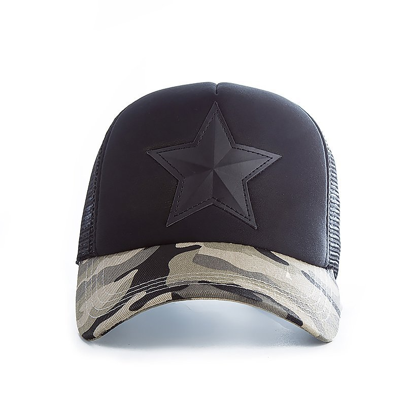 New 3D Five-pointed Star Embroidery Mesh Baseball Cap Fashion Summer Snapback Camouflage Hat Cap For Men & Women Leisure Cap 5