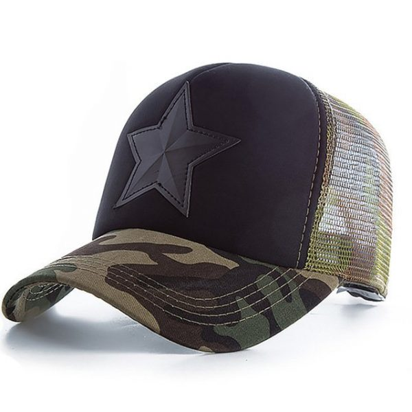 New 3D Five-pointed Star Embroidery Mesh Baseball Cap Fashion Summer Snapback Camouflage Hat Cap For Men & Women Leisure Cap 18