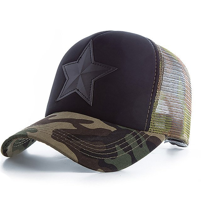 New 3D Five-pointed Star Embroidery Mesh Baseball Cap Fashion Summer Snapback Camouflage Hat Cap For Men & Women Leisure Cap 17