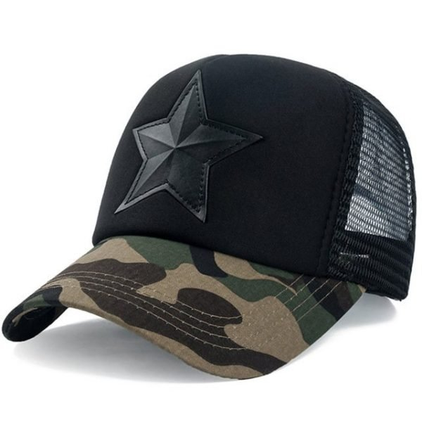 New 3D Five-pointed Star Embroidery Mesh Baseball Cap Fashion Summer Snapback Camouflage Hat Cap For Men & Women Leisure Cap 20