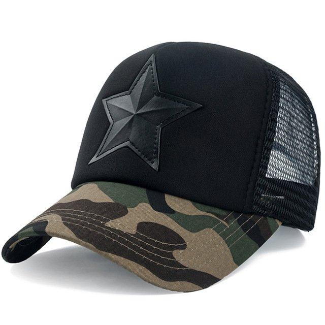 New 3D Five-pointed Star Embroidery Mesh Baseball Cap Fashion Summer Snapback Camouflage Hat Cap For Men & Women Leisure Cap 19