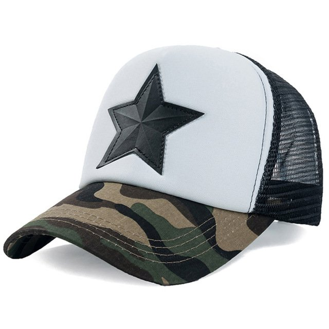 New 3D Five-pointed Star Embroidery Mesh Baseball Cap Fashion Summer Snapback Camouflage Hat Cap For Men & Women Leisure Cap 21