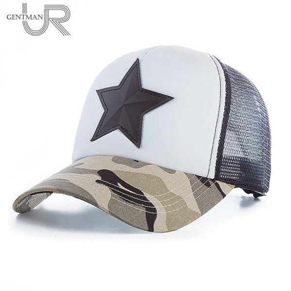 New 3D Five-pointed Star Embroidery Mesh Baseball Cap Fashion Summer Snapback Camouflage Hat Cap For Men & Women Leisure Cap 2