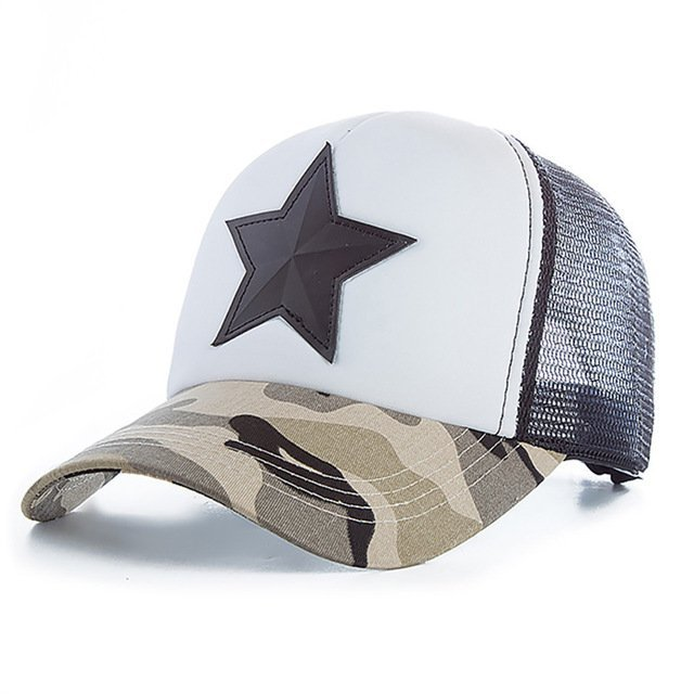 New 3D Five-pointed Star Embroidery Mesh Baseball Cap Fashion Summer Snapback Camouflage Hat Cap For Men & Women Leisure Cap 13