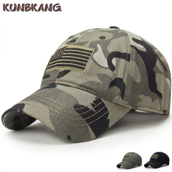 New Men USA Flag Camouflage Baseball Cap Army Embroidery Cotton Tactical Snapback Dad Hat Male Summer Sports America Trucker Cap 1