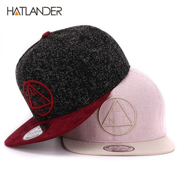 Quality Snapback cap NY round triangle embroidery brand flat brim baseball cap youth hip hop cap and hat for boys and girls 2