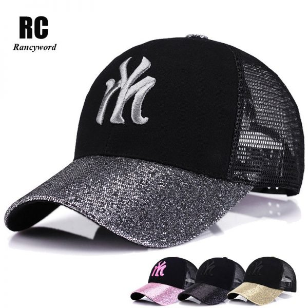 New Branded Baseball Caps Canada Women's Cap With Mesh Bone Hip Hop Lady Embroidery Hats Sequins RC1134 4