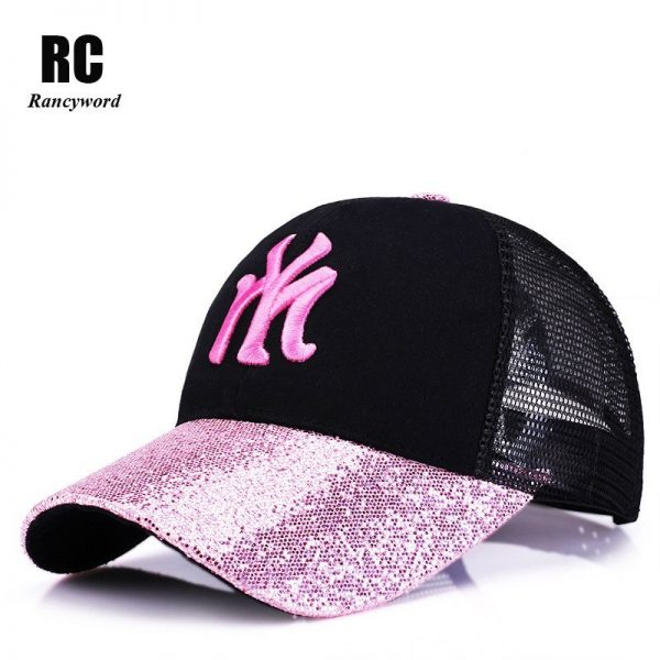 New Branded Baseball Caps Canada Women's Cap With Mesh Bone Hip Hop Lady Embroidery Hats Sequins RC1134 2