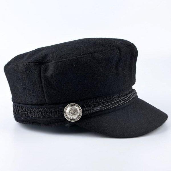 SUOGRY Winter Hats For Women Men Octagonal Cap Wool Button Baseball Caps Sun Visor Hat Gorras Casquette Touca Black Casual 4