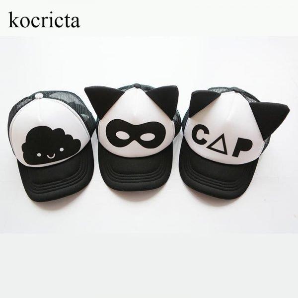 Toddler Baby Black and White Baseball Cap Kids Cute  Ear  Summer Mesh Sun Hat  Child  Boys and Girls Trucker Flat Caps 2