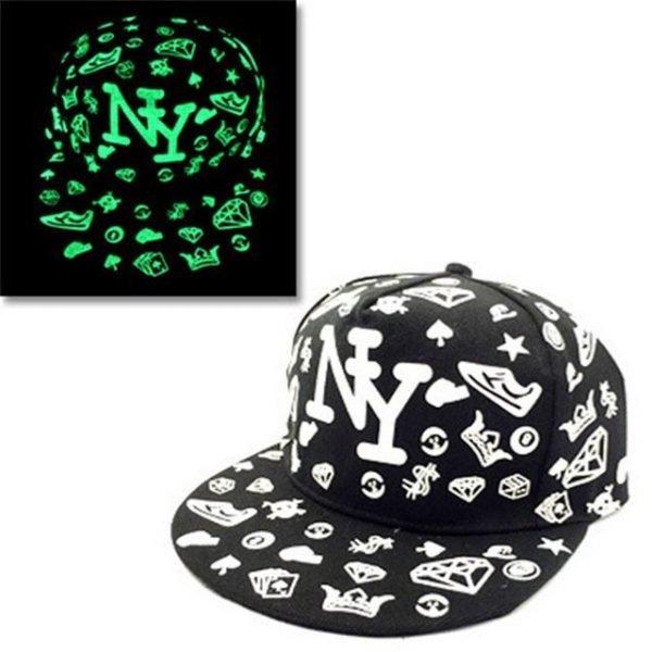 green Glow Dark Snapback Caps little stars Hip Hop Fluorescent Baseball Cap Casual Luminous Caps Fitted Hats for Women Men 302 18