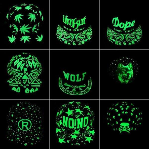 green Glow Dark Snapback Caps little stars Hip Hop Fluorescent Baseball Cap Casual Luminous Caps Fitted Hats for Women Men 302 10