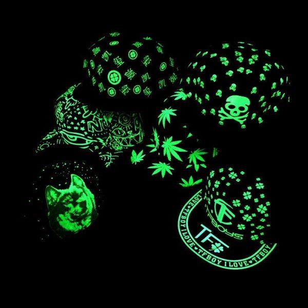 green Glow Dark Snapback Caps little stars Hip Hop Fluorescent Baseball Cap Casual Luminous Caps Fitted Hats for Women Men 302 12