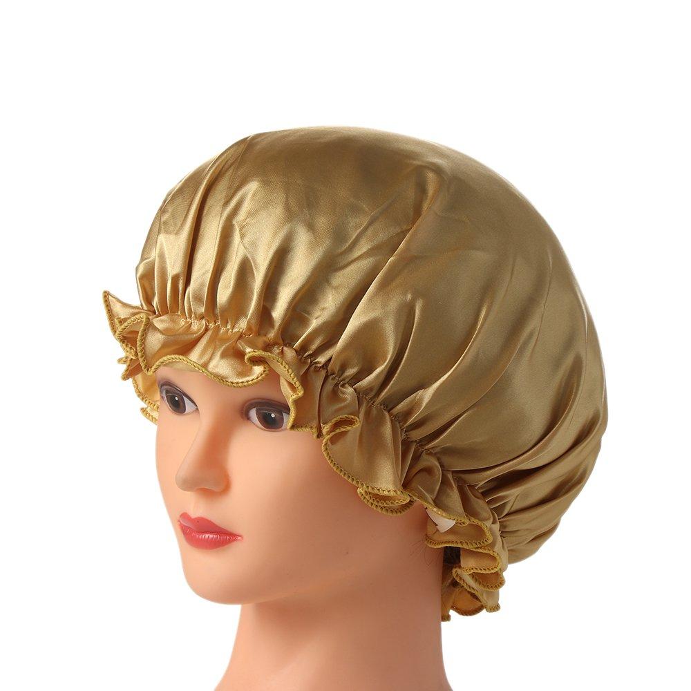 1PC New Elastic Lady Hair Care Nightcap Night Sleep Cap Sleeping Bathing Hat Satin Bonnet Nightcap For Women Men Solid Color 3