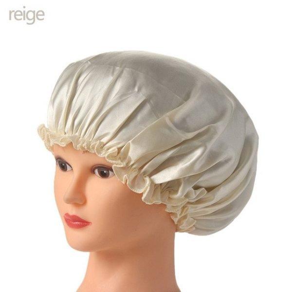 1PC New Elastic Lady Hair Care Nightcap Night Sleep Cap Sleeping Bathing Hat Satin Bonnet Nightcap For Women Men Solid Color 16