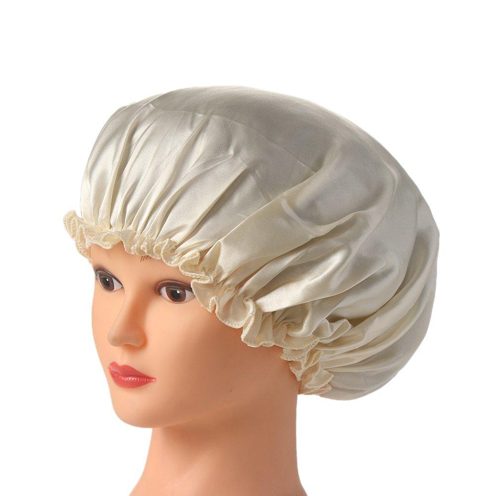 1PC New Elastic Lady Hair Care Nightcap Night Sleep Cap Sleeping Bathing Hat Satin Bonnet Nightcap For Women Men Solid Color 5