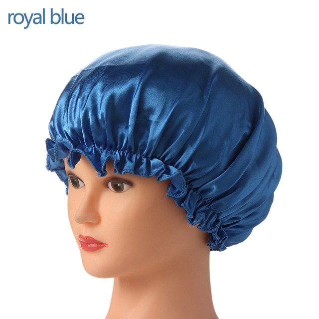 1PC New Elastic Lady Hair Care Nightcap Night Sleep Cap Sleeping Bathing Hat Satin Bonnet Nightcap For Women Men Solid Color 19