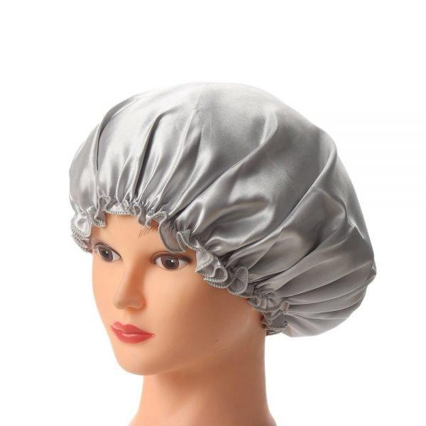 1PC New Elastic Lady Hair Care Nightcap Night Sleep Cap Sleeping Bathing Hat Satin Bonnet Nightcap For Women Men Solid Color 10