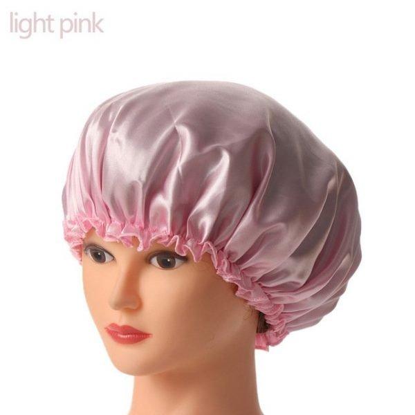 1PC New Elastic Lady Hair Care Nightcap Night Sleep Cap Sleeping Bathing Hat Satin Bonnet Nightcap For Women Men Solid Color 22