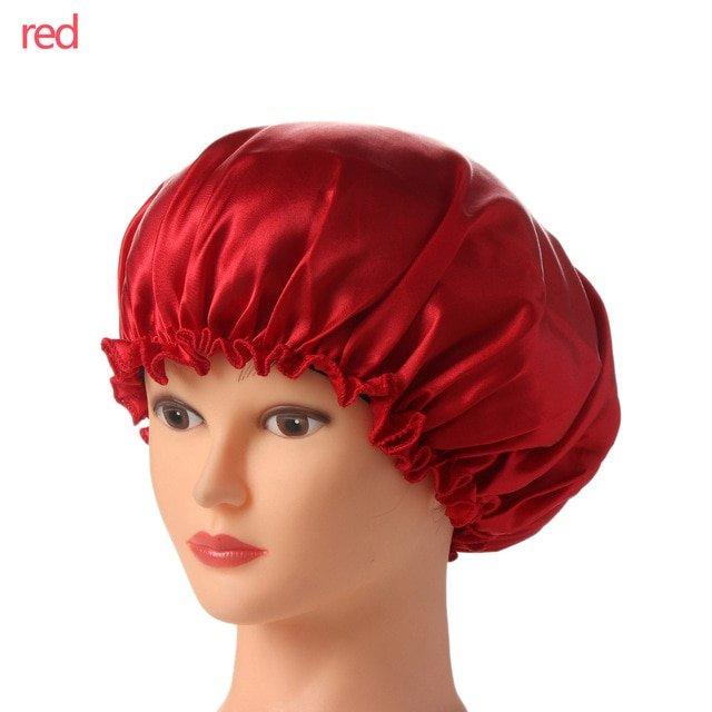 1PC New Elastic Lady Hair Care Nightcap Night Sleep Cap Sleeping Bathing Hat Satin Bonnet Nightcap For Women Men Solid Color 25