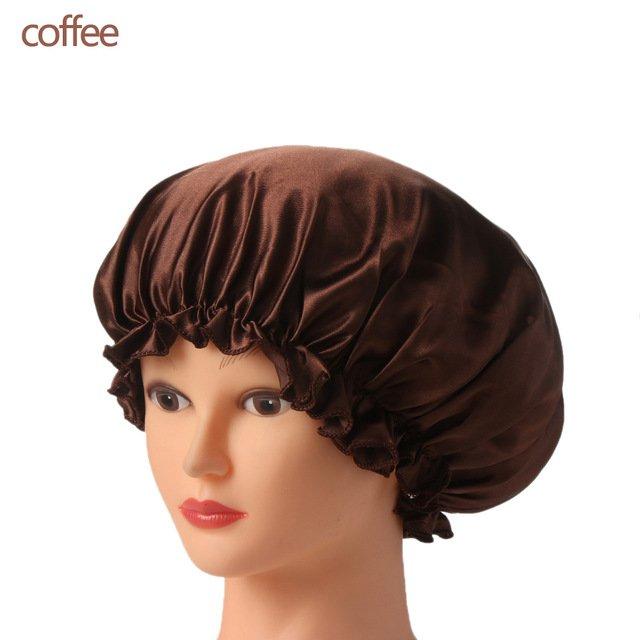 1PC New Elastic Lady Hair Care Nightcap Night Sleep Cap Sleeping Bathing Hat Satin Bonnet Nightcap For Women Men Solid Color 31