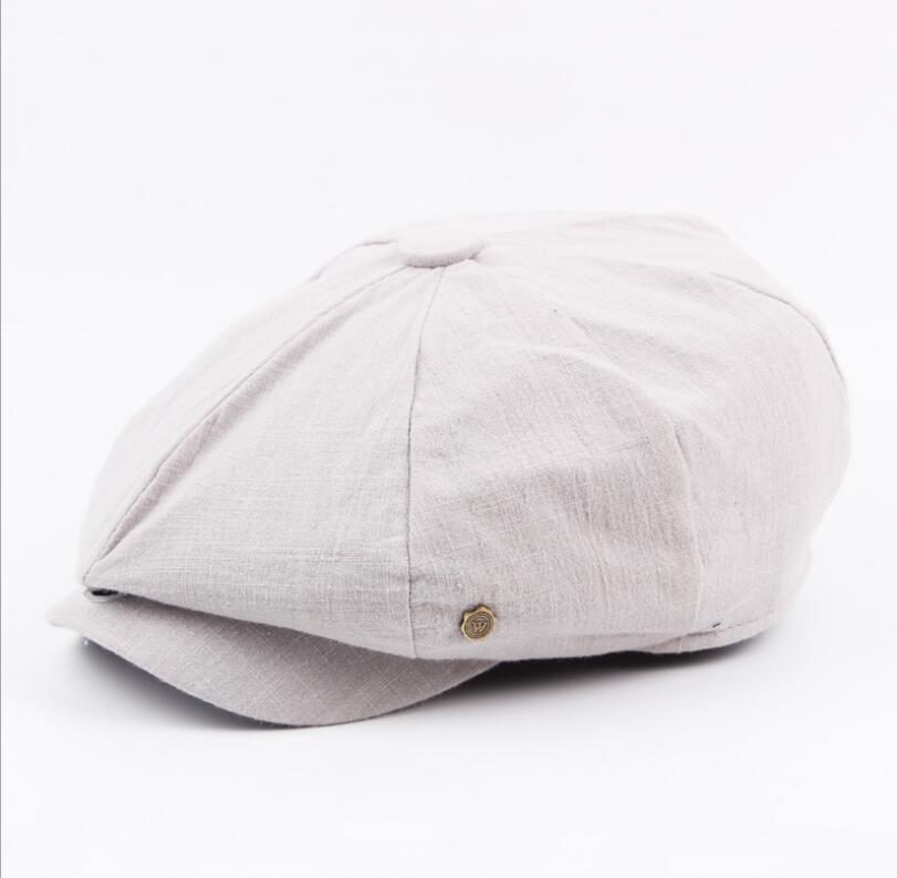 octagonal cap winter male British style retro linen painter hat solid color stitching fashion hat 3