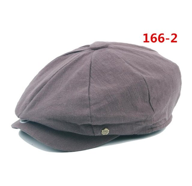 octagonal cap winter male British style retro linen painter hat solid color stitching fashion hat 15