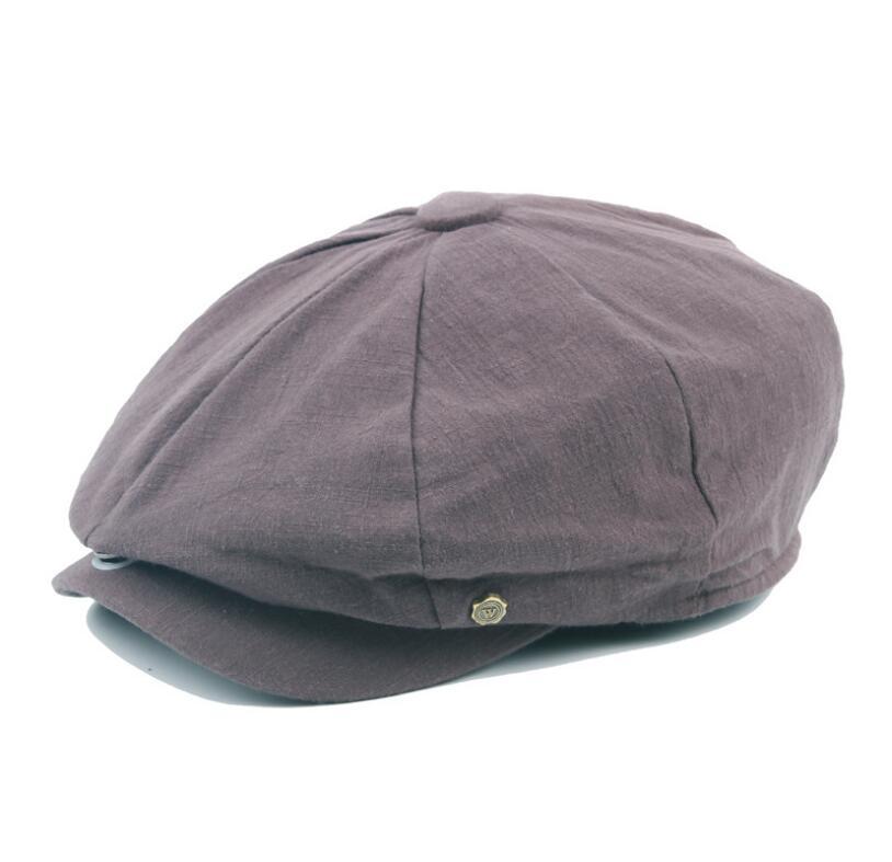 octagonal cap winter male British style retro linen painter hat solid color stitching fashion hat 5