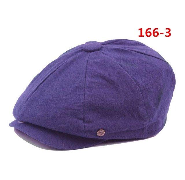 octagonal cap winter male British style retro linen painter hat solid color stitching fashion hat 17