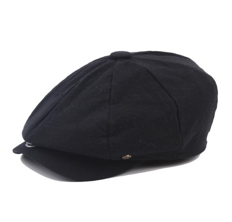 octagonal cap winter male British style retro linen painter hat solid color stitching fashion hat 7