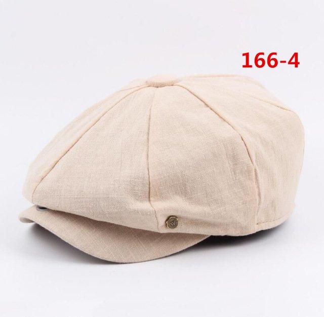 octagonal cap winter male British style retro linen painter hat solid color stitching fashion hat 19