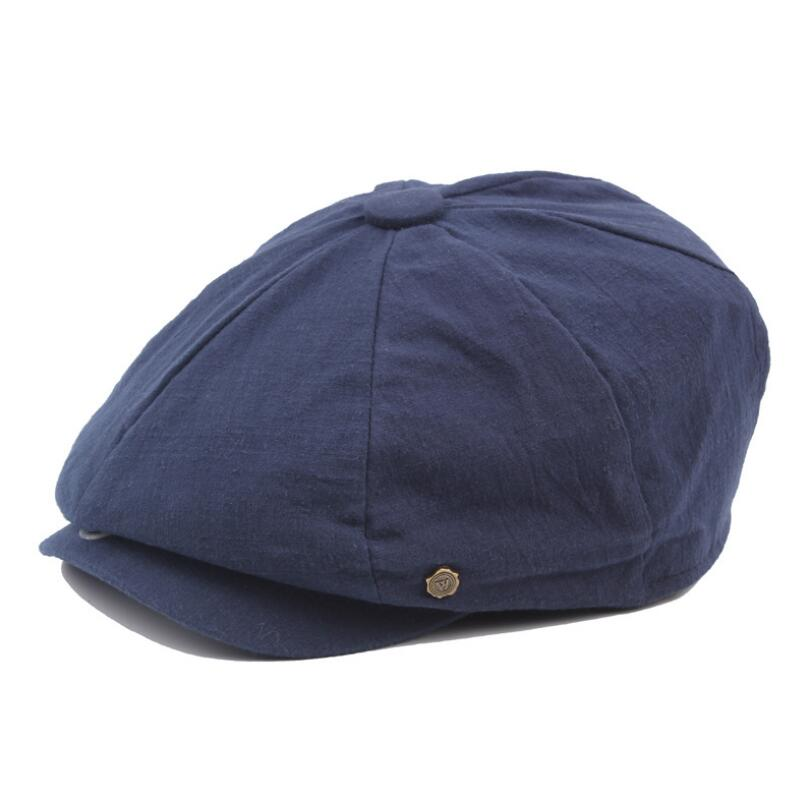 octagonal cap winter male British style retro linen painter hat solid color stitching fashion hat 9