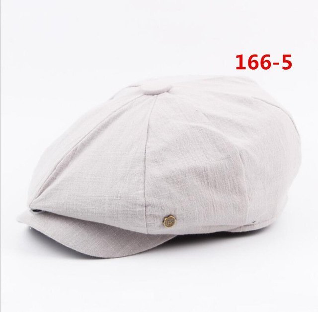 octagonal cap winter male British style retro linen painter hat solid color stitching fashion hat 21