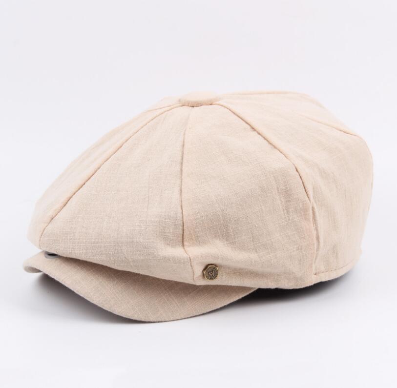 octagonal cap winter male British style retro linen painter hat solid color stitching fashion hat 11
