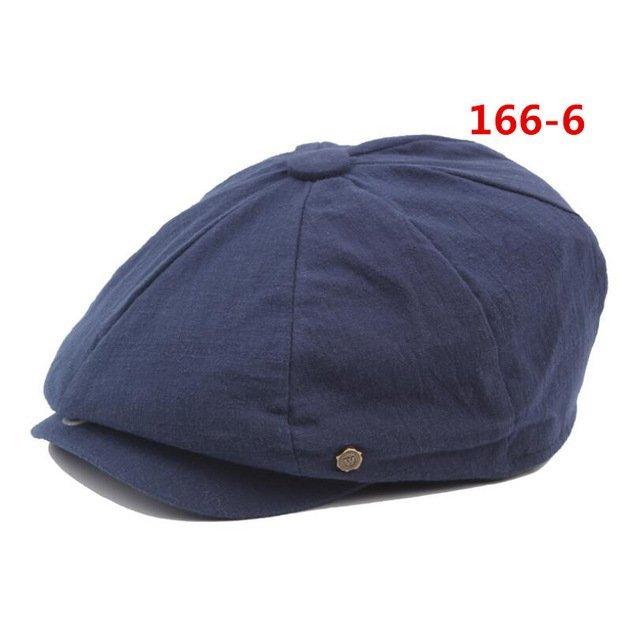 octagonal cap winter male British style retro linen painter hat solid color stitching fashion hat 23