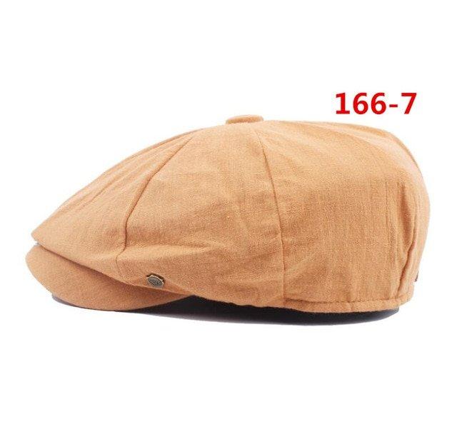 octagonal cap winter male British style retro linen painter hat solid color stitching fashion hat 25