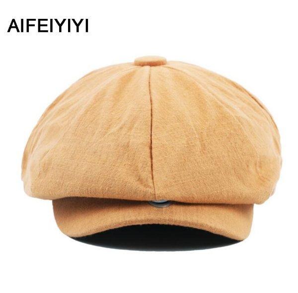 octagonal cap winter male British style retro linen painter hat solid color stitching fashion hat 2