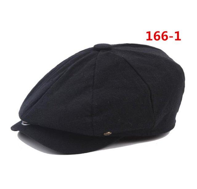 octagonal cap winter male British style retro linen painter hat solid color stitching fashion hat 13