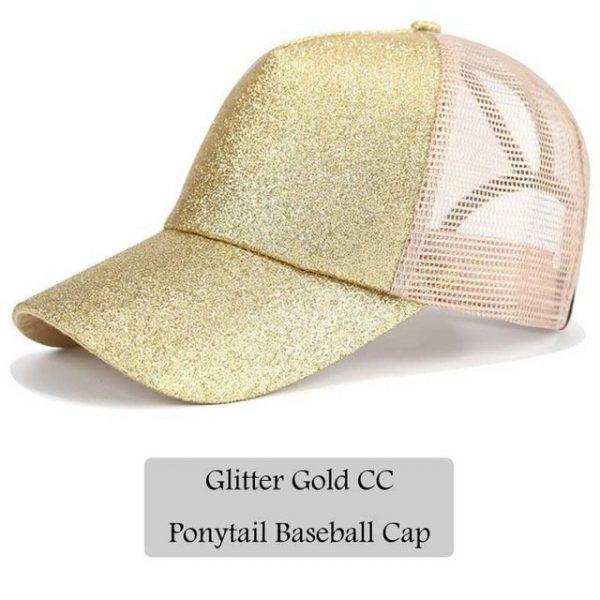 2018 CC Glitter Ponytail Baseball Cap Women Snapback Hat Summer Messy Bun Mesh Hats Casual Adjustable Sport Caps Drop Shipping 18