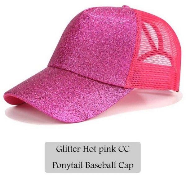 2018 CC Glitter Ponytail Baseball Cap Women Snapback Hat Summer Messy Bun Mesh Hats Casual Adjustable Sport Caps Drop Shipping 26